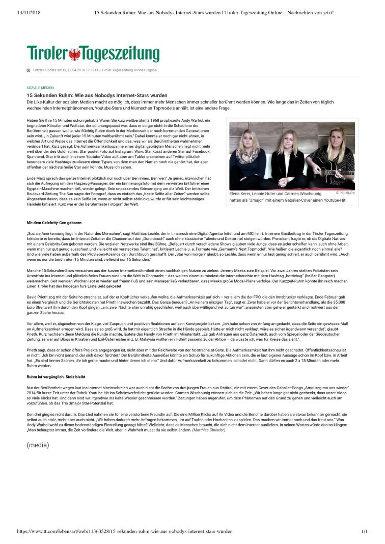 15 Sekunden Ruhm_ Wie aus Nobodys Internet-Stars wurden _ Tiroler Tageszeitung Online – Nachrichten von jetzt!